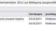 Meine Kursbelegung für das Sommersemester 2011