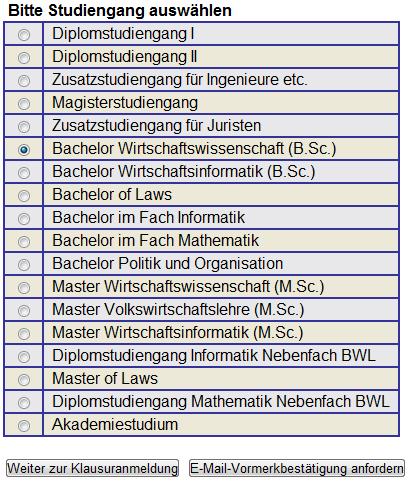 Liste Studiengänge zur Prüfungsanmeldung