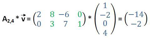 2x4-Matrix mit Vektor multipliziert