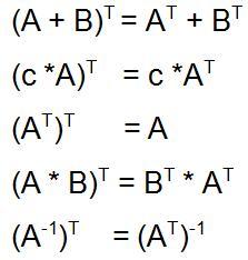 Transponierte Matrix Rechenregeln