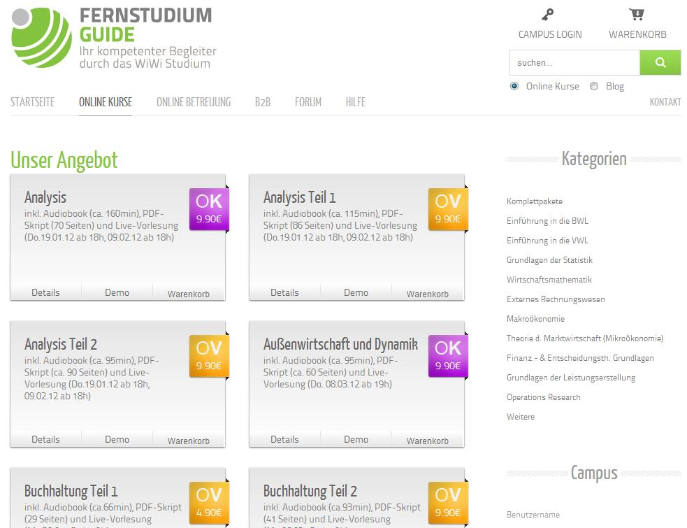 Fernstudium-Guide Angebot