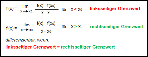 Linksseitiger/rechtsseitiger Grenzwert