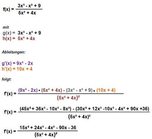 Quotientenregel Beispiel 1